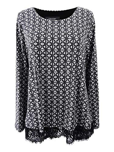 Karen Kane Womens Printed Lace-Trim Casual Top Black M