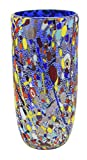 VASO CONICO ARLECCHINO Murano Glass Gold Leaf Murrine Vase Decor Venice Made Italy