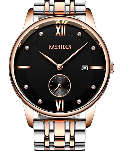 KASHIDUN.Men's Wrist Watches Top Brand Luxury Casual Quartz Analog Gold Army Watches Date-Black.MYSL-JH