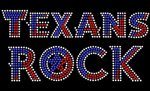 (Texans Rock Text Rhinestone Iron on Transfer )