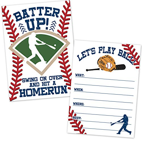 Baseball Birthday Party Invitations (20 Count with Envelopes) - Boys Birthday Invites - Baseball Team Event - Baseball Party Supplies - Fill in The Blank Invites for Kids or Adults