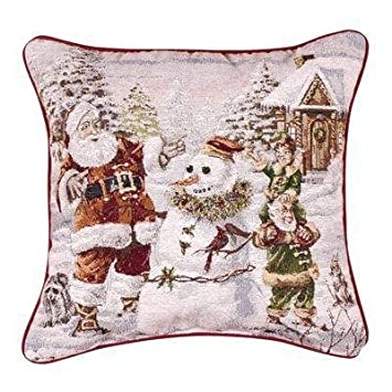 Santa s Helpers Snowman 17 x17 Christmas Holiday Tapestry Toss Pillow USA Made
