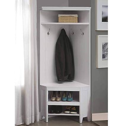 1PerfectChoice Corner Hall Tree Coat Rack Shoe Storage Cabinet Bench Shelves Wooden White  sc 1 st  Amazon.com & Amazon.com: 1PerfectChoice Corner Hall Tree Coat Rack Shoe Storage ...