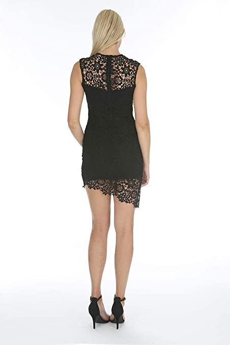 fb1b661c3a2 bebe Womens Asymmetrical Lace Dress w Diagonal Hem at Amazon Women s  Clothing store