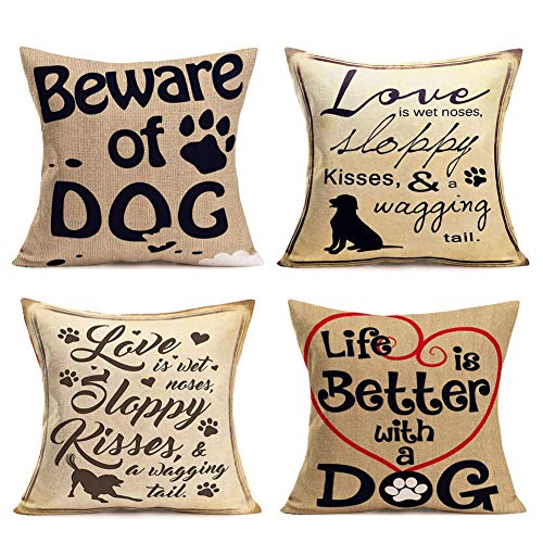 Hopyeer 4Pcs Cute Animals Decor Throw Pillow Cases Love Dog Theme Cotton Linen Warm Quote Words with Heart Printed Pillow Covers Decorative Home Sofa Pet