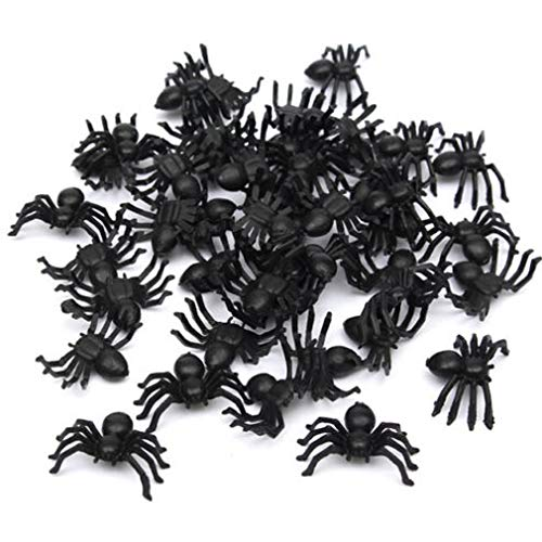 Dolland 50Pcs Realistic Plastic Spider Toys Halloween Prank Props Funny Halloween Decorations -