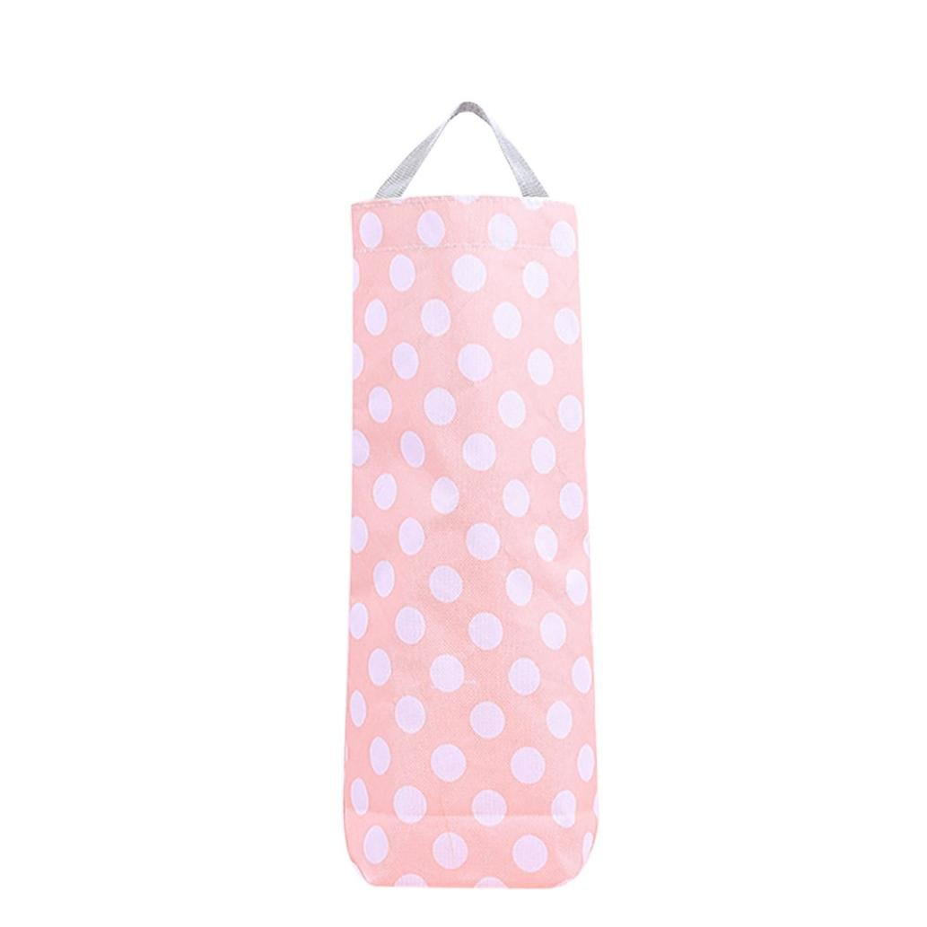 Lavany Hanging Storage Bag,Kitchen Oxford Bags For Fruit Vegetable Garlic Onion (Pink)