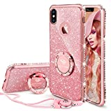 OCYCLONE iPhone X Case Girl Women, Glitter Cute Girly Diamond Rhinestone Bumper Ring Kickstand Protective Phone Case iPhone X - Rose Gold [Pink]