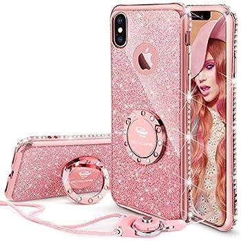 ca4b58f06ce3c2 OCYCLONE iPhone X/XS Case Cute, Glitter Bling Girly Diamond Rhinestone  Bumper with Ring