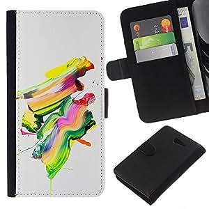 KLONGSHOP // Tirón de la caja Cartera de cuero con ranuras para tarjetas - Pintura colorida del arte abstracto moderno de la pintura del cepillo - Sony Xperia M2 //