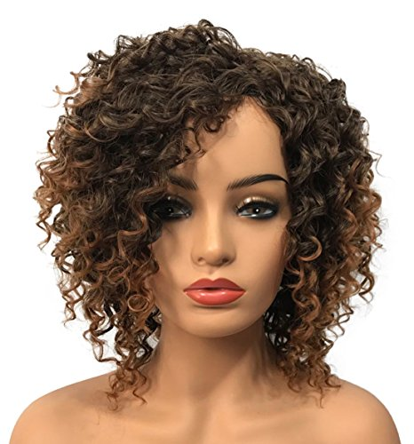 Wiginway Women Wigs Medium Curly Brown Wigs Synthetic Wig Hairpieces For Women Remy Hair Hair Pieces 8 Inch(#2T30) ()