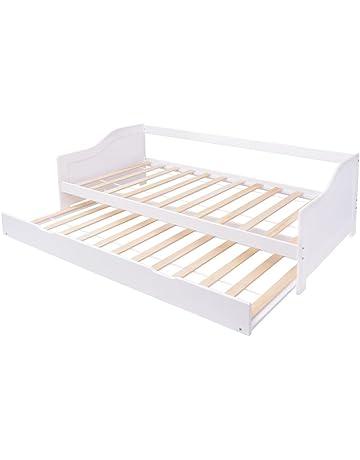 vidaXL Sofá cama / diván de madera de pino 200x90 cm blanco