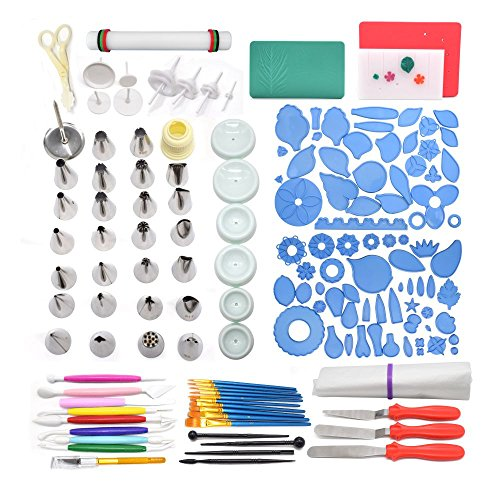 AK ART KITCHENWARE Gum Paste and Icing Leaf and Flower Tool Kit 75 Flower&Foliage Cutters 26 Icing Piping Tool 1 Veining Board 1 Foam Pad 1 Rolling Pin 10 Brushes 4 Frilling Sticks 8 Modelling Tool by AK ART KITCHENWARE