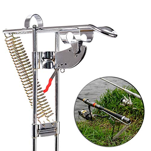 - Quaanti Stainless Fishing Rod Holder Rack, with Automatic Tip-Up Hook Setter, Double Spring Angle Rod Pole Fish Pole Bracket Fishing Rod Holder Rest, Adjustable Folding Holder (Silive)