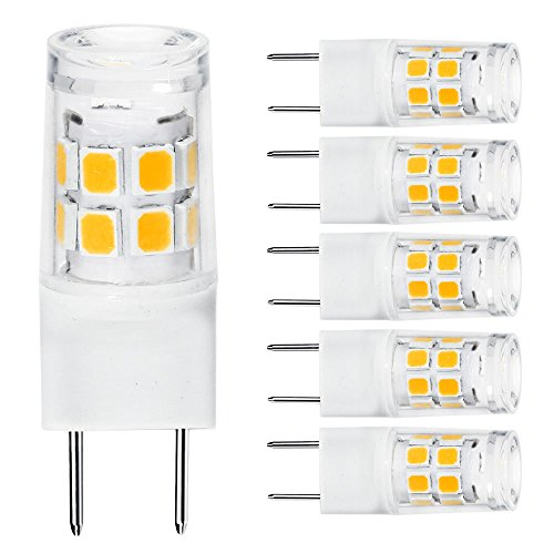 Book Light Replacement Bulb - [5-Pack] LED G8 Light Bulb, G8 GY8.6 Bi-pin Base LED, Not Dimmable T4 G8 Base Bi-pin Xenon JCD Type LED 120V 50W Halogen Replacement Bulb for Under Counter Kitchen Lighting. (G8 3000K)