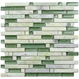 Marble Grass (GD01) Mint Green Polished Stone Glass Blend Backsplash Tiles for Kitchen Bathroom Mosaic Design Wall (1 Box / 11 Sheets)