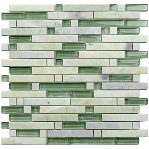 Mint Green Polished Stone Glass Blend Backsplash Tiles for Kitchen Bathroom Mosaic Design Wall (1 Box / 11 Sheets) ()