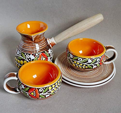 Orange coffee gifts, Turkish coffee set ceramic coffee pot and two coffee cups and saucers, wife birthday gift, Warm gifts