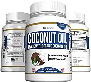 Organic Coconut Oil Capsules - 1000mg Extra Virgin Softgels - Hair Growth and Moisturizes Skin - Metabolic Energy and Weight Loss - Premium Grade Supplement - Made in USA and 3rd Party Lab Certified