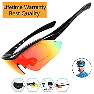 Sports Sunglasses For Men Women Cycling Glasses Polarized Baseball Running Fishing Driving Golf Hunting Biking Hiking With 5 Interchangeable Lenses (Black, 5 Lens)
