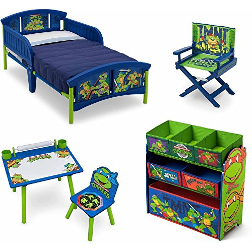 Nickelodeon Teenage Mutant Ninja Turtles 5 Piece Furniture Set - Plastic Toddler Bed, Multi-Bin Organizer, Art Desk and Chair, Director's Chair for Boys (Blue Ninja Turtle Name)