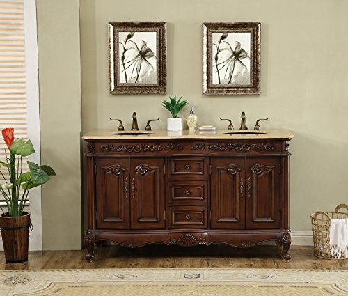 - Stufurhome GM-3323-60-TR w 60 inch Saturn Double Sink Vanity with Travertine Marble Top