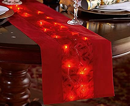Bon LED Table Runner   Red   Light Up Your Festive Table!