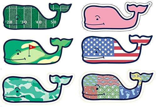 Set of 6 Vineyard Vines Whale Stickers ()
