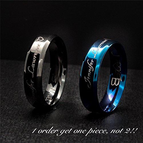 A Your Name Personalized Ring Stainless Steel Beveled Edge Flat Band Ring Silver -Plated Delicate Bridesmaid Couple Ring mother's day mom gift