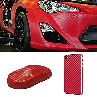 Silence Shopping 3D Carbon Fiber Vinyl Car DIY Wrap Sheet Roll Film Sticker Decal - Red Color 127X30cm 50