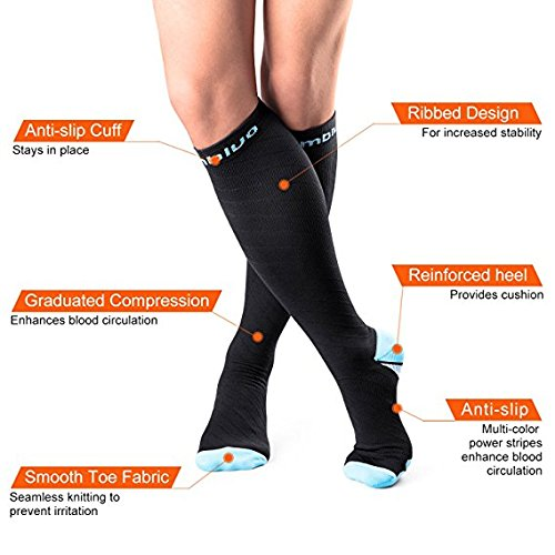 Cambivo 2 Pairs Compression Socks for Women & Men, Fit for Running, Athletic Sports, CrossFit, Flight, Travel, Pregnancy, Nurses, Enhance Circulation & Speed-up Muscle Recovery (20-30 mmHg)