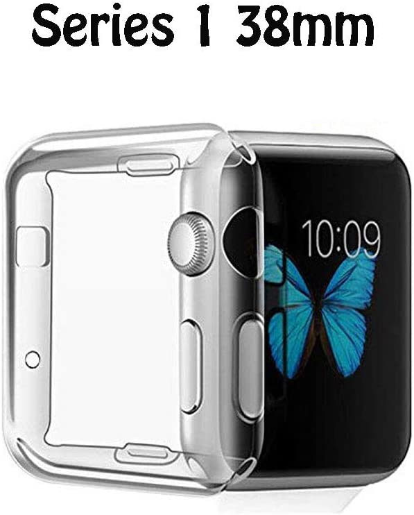FINENIC Compatible with Apple Watch Series 1 38mm Screen Protector case Cover, TPU All-Around 0.3mm Ultra-Thin Cover case Compatible for Apple Watch Series 1 38mm