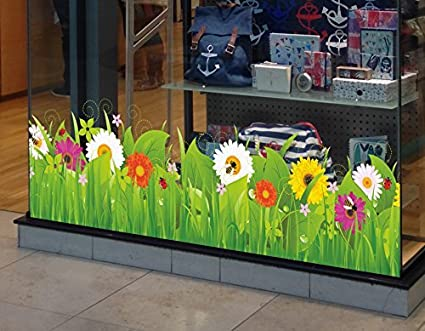 Window stickers wild grass with flowers and insects spring window border seasonal window cling stickers