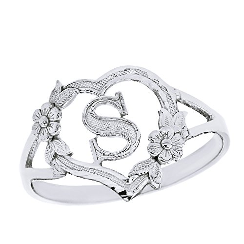 - CaliRoseJewelry 10k Initial Alphabet Personalized Heart Ring in White Gold (Size 7.75) - Letter S