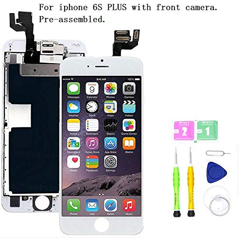 Screen Replacement Compatible with iPhone 6S Plus Full Assembly - LCD 3D Touch Display Digitizer with Ear Speaker, Sensors and Front Camera, Fit Compatible with All iPhone 6S Plus (White) (I Phone Speaker Replacement)