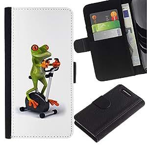 For Sony Xperia Z1 Compact / Z1 Mini / D5503,S-type® Gym Sports Frog White Stationary Bicycle - Dibujo PU billetera de cuero Funda Case Caso de la piel de la bolsa protectora