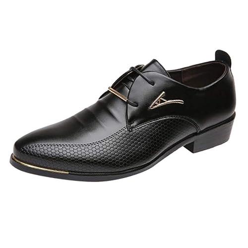 Zilosconcy Zapatos de Cuero de Negocios de Moda para Hombres Zapatos de Traje para Hombre, con Punta Puntiaguda Informal
