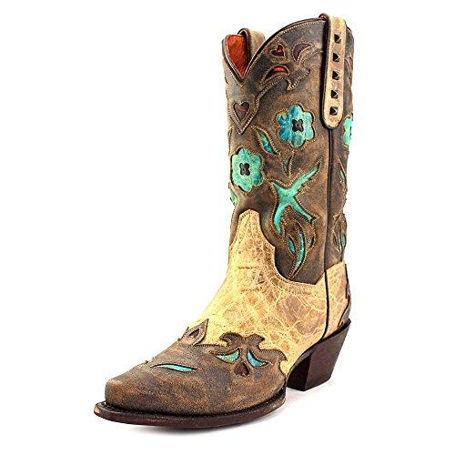 Dan Post Womens Tan Vintage Bluebird Leather Cowboy Boots 12in 7.5 (Dan Post Pull)