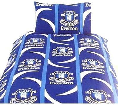 NEW EVERTON DOUBLE DUVET QUILT COVER SET BOYS KIDS FANS FOOTBALL BLUE BEDROOM