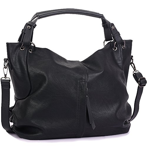 Leather Pocket Hobo - Handbags for Women WISHESGEM Large Capacity Ladies Hobo Purses Top Handle PU Leather Shoulder Bags Black