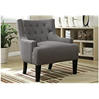 Poundex Accent Chair Upholstered in Grey Colored Fabric
