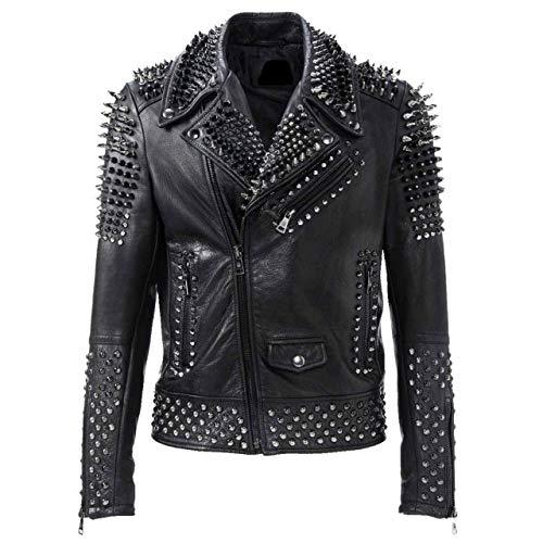 Mens Brando Motorbike Rock Punk Spike Studded Motorcycle Black Biker Leather Jacket