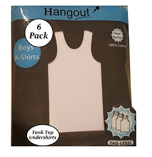 Boy Tank Top White A-Shirt 6 Pack Tagless 100% Cotton Ribbed Pattern Summer Beater Undershirts (S 6-7) (Boy Beater Tank)
