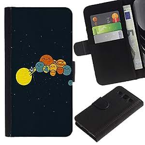 A-type (Divertido Planetas Comedia) Colorida Impresión Funda Cuero Monedero Caja Bolsa Cubierta Caja Piel Card Slots Para Samsung Galaxy S3 III i9300 i747