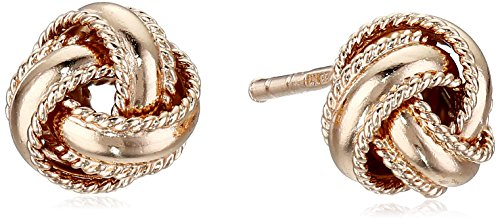 Gold Plated Knot Earrings (Sterling Silver Rose Gold-Plated Polished Rope Band Love Knot Stud)