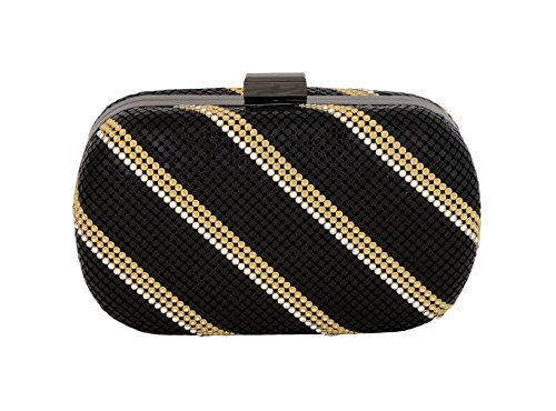 Whiting & Davis FCD Minaudiere 1-5860 Evening Bag,Black Gold,One Size by Whiting & Davis