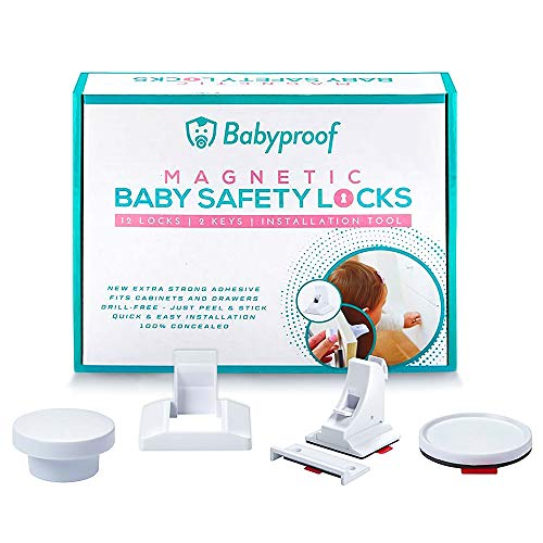 Babyproof Magnetic Cabinet Locks Child safety - Extra Strong Hold, Drill Free - Easy and Fast Installation - Baby Locks For Cabinets Doors and Drawers - Magnetic Lock On/Off Switch