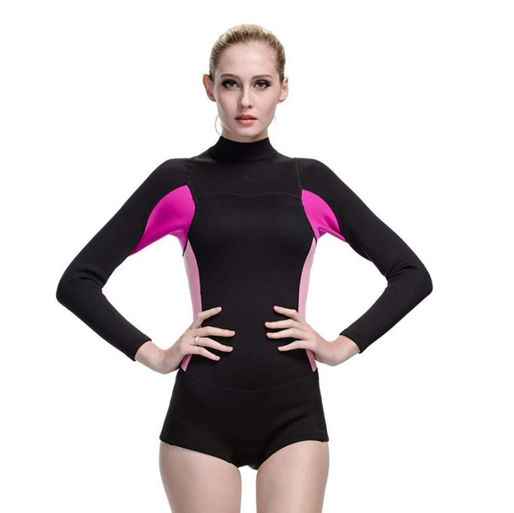 Womens Neoprene Diving Wetsuit One Piece Long Sleeve Swimsuit Top Warm Protection Pink Black by Beatysk