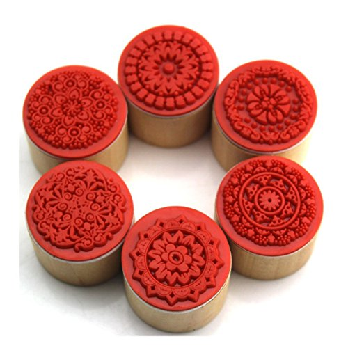 WP-TT® 6pcs Assorted Retro Vintage Floral Pattern Round Wooden Rubber Stamp Scrapbook (Stamps Rubber Round)