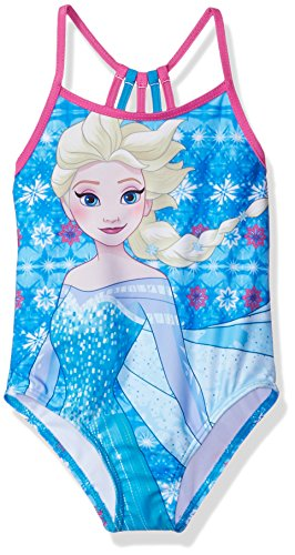 Disney Princess Big Girls' Elsa Swimsuit, Sky Blue, 4